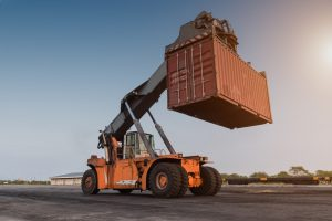 moving shipping container with forklift